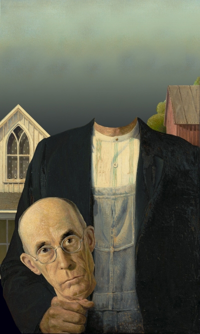 Image of Grant Wood's American Gothic painting, edited to be truly gothic in subject (the man is headless).