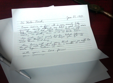 Letter on desk addressed to Helen Bach