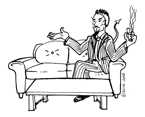 Image of a well-clad Devil sitting on the living room couch.
