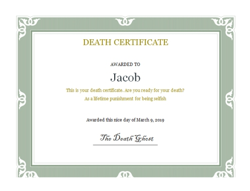 Jacob's death certificate