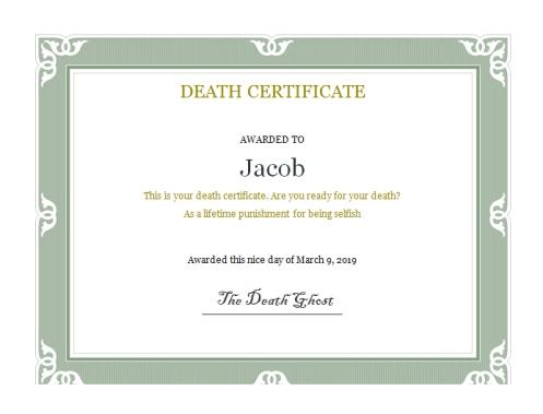 Jacob's death certificate