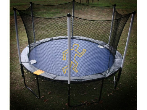 Trampoline with outline showing where the dead once laid