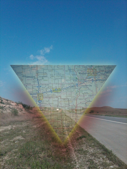 A semi-transparent triangle-shaped map over a photo of a road through the Flint Hills