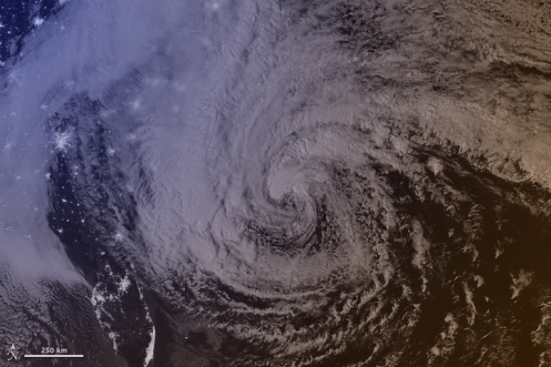 Satellite image of 2012's Hurricane Sandy