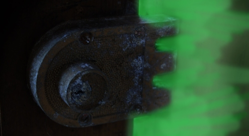 Old deadbolt lock with evil energy getting past it