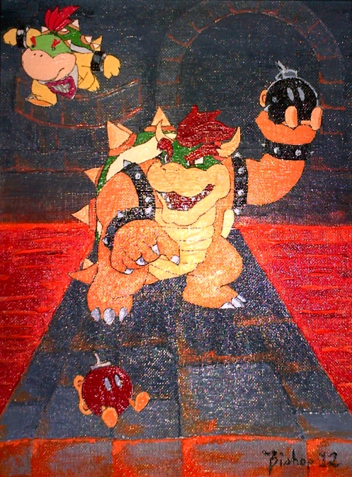 Oil painting of Bowser, Bowser Jr. and a couple of their Bob-Omb pals.