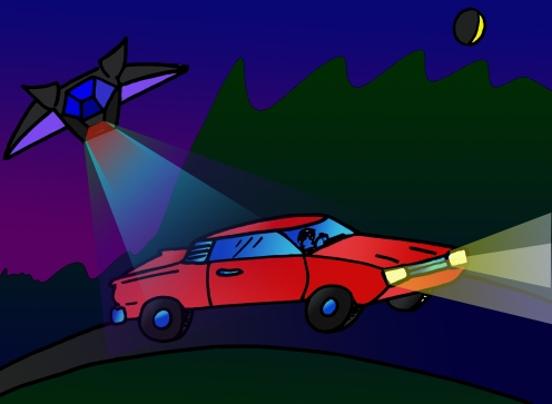 An alien attack ship hits a car with a force beam.