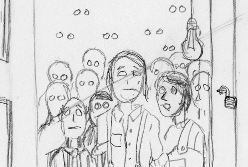 Pencil sketch of a basement full of the collection of boarders.