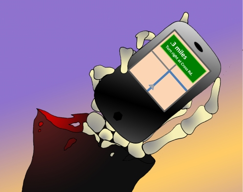 Death holds a smart phone with a deadly map app.pp