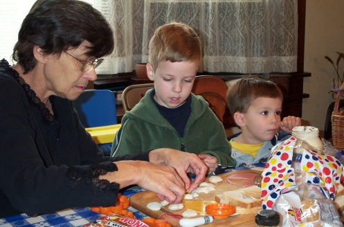 A regular scene with Grandma Bishop found her engaging in a creative activity with her kids and grandkids -- here, she shows how to use cookie cutters to make baloney sandwiches taste even better!