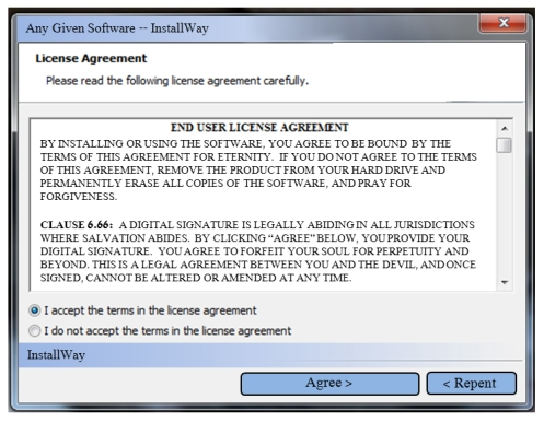 EULA Clause 6.66 binds the user to an eternity in Hell.
