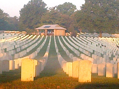 Jefferson Barracks National Cemetery on a morning with light fog burning off