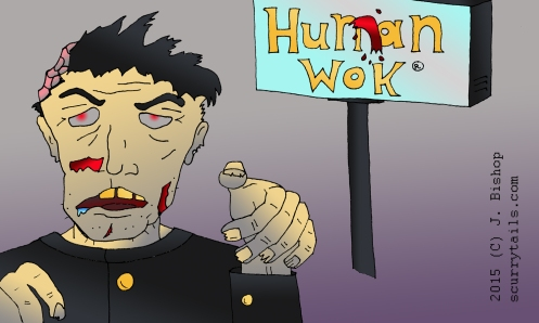 Zombie ready to attack in front of the Hunan Wok -- renamed the Human Wok -- restaurant